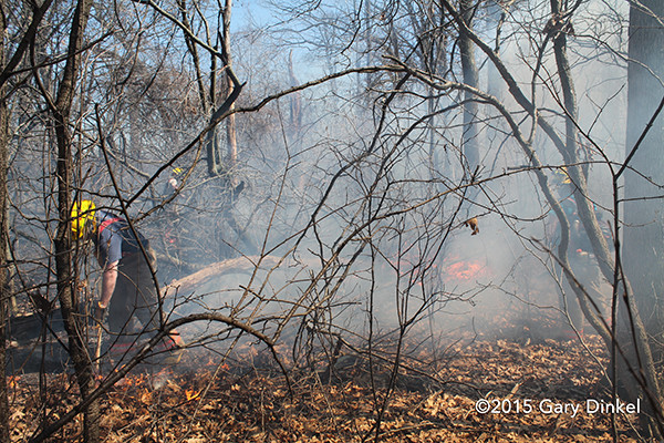 fireman extinguishes brush fire