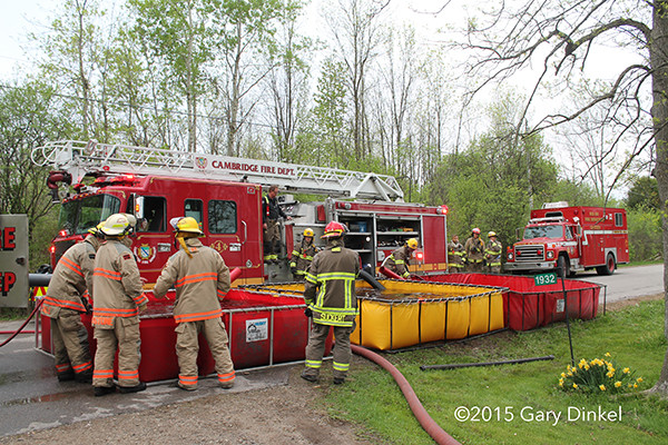 fire truck drafts from portable tanks