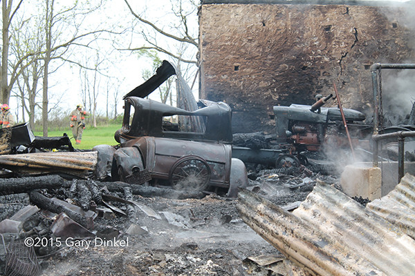 a Ford Model A car destroyed in a fire
