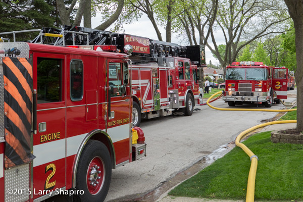 Pierce fire trucks at fire scene ©2015 Larry Shapiro