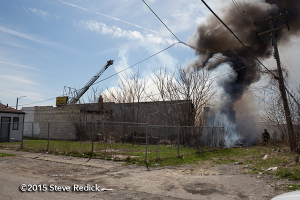 Detroit firefighters at fire scene