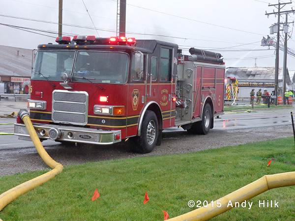 Pierce fire engine hooked to hydrant