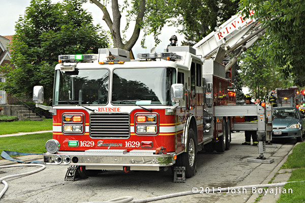 Seagrave fire truck at fire scene