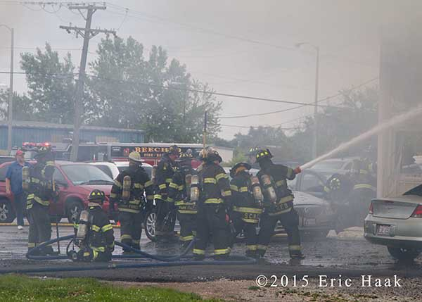 auto body shop on fire