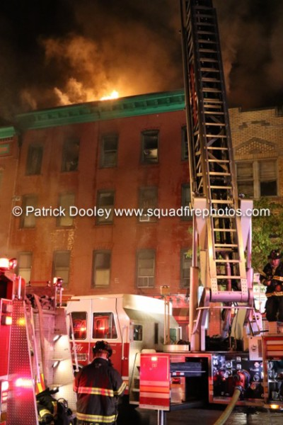 night fire scene in Hartford