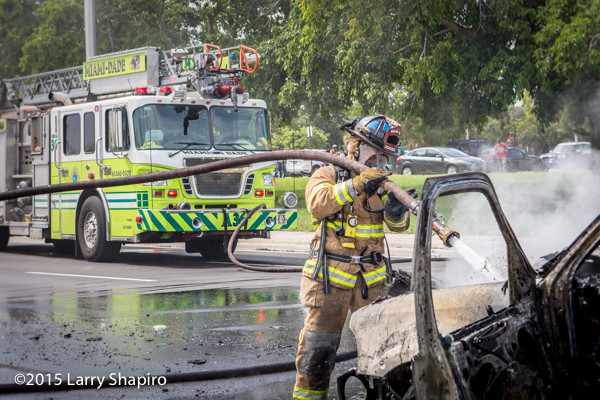 probationary firefighter works a car fire