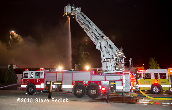 Elk Grove FD tower ladder war fire scene