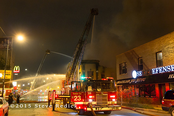 huge commercial building fire at night
