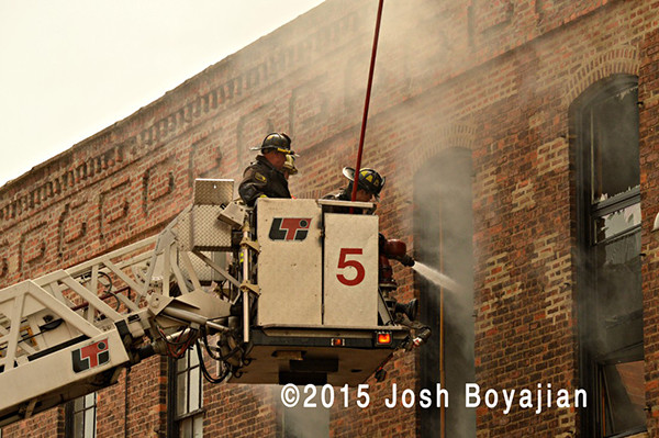Chicago FD Tower Ladder 5 at fire scene