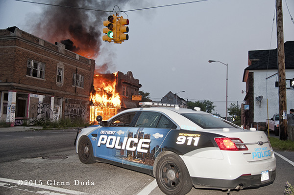 Commercial building fire at Chene and East Palmer in Detroit,