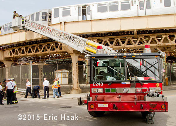 Chicago fire truck at train derailment