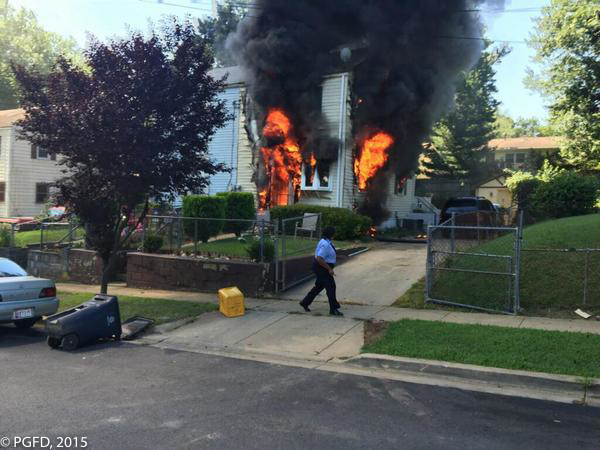 fire showing at MD house fire