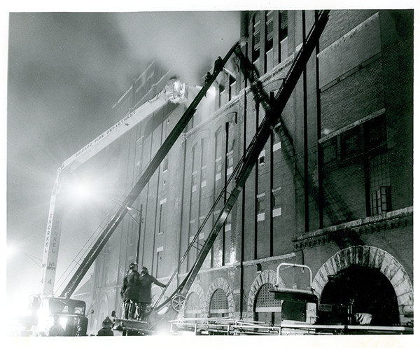 Vintage Chicago fire scene with Snorkel