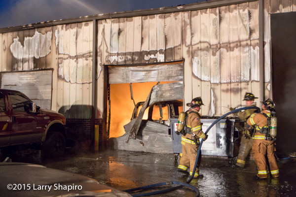 fire in an auto repair shop