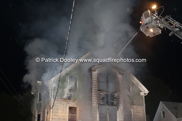 night fire scene in New Britain CT