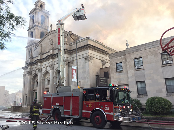 Chicago FD Snorkel at church fire