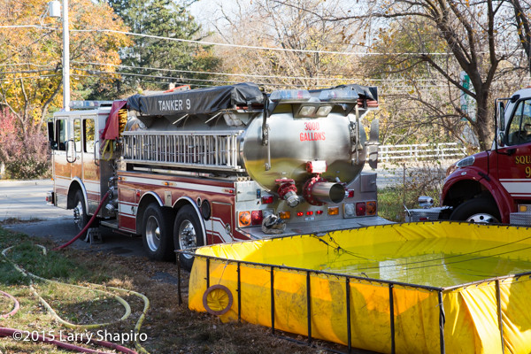 fire department water tender with portable tank