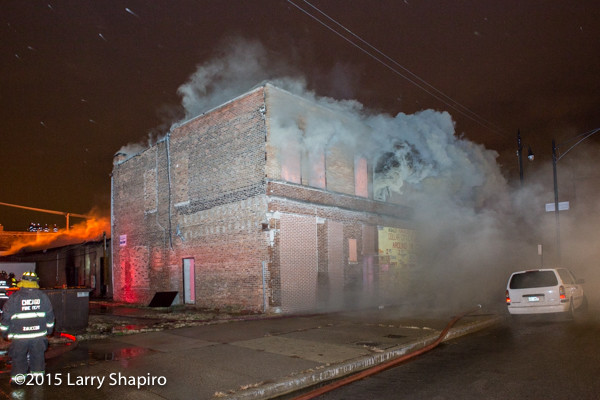 heavy smoke from building fire at night