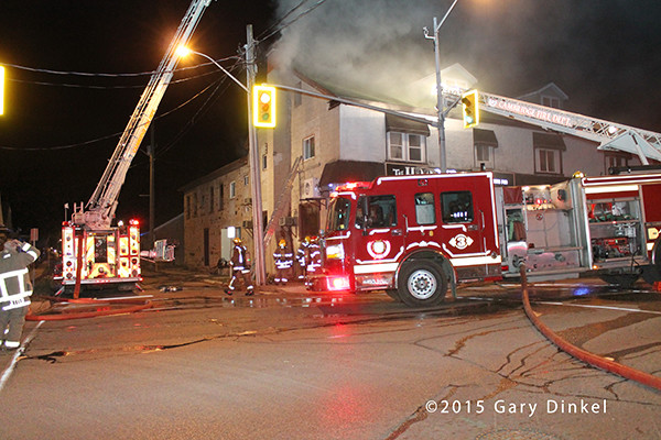 night fire scene in Cambridge Ontario