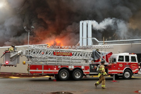 Sutphen tower ladder at fire scene