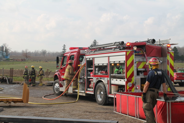 fire engine drafts from portable tank