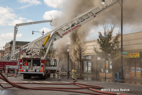 heavy smoke from commercial building fire in Chicago