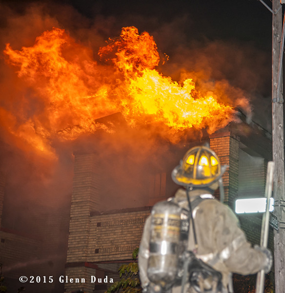Detroit firefighter with heavy flames