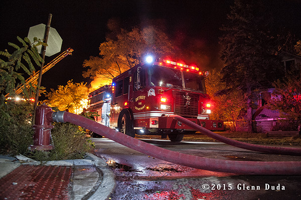 Detroit fire engine at night fire scene