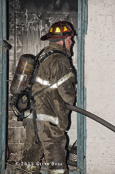 Detroit firefighter working at night