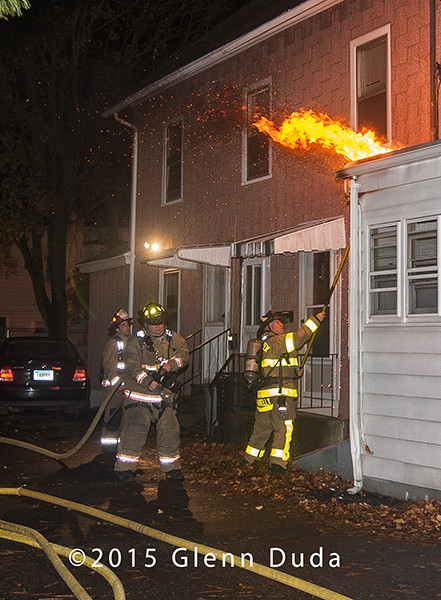 flames from house at night