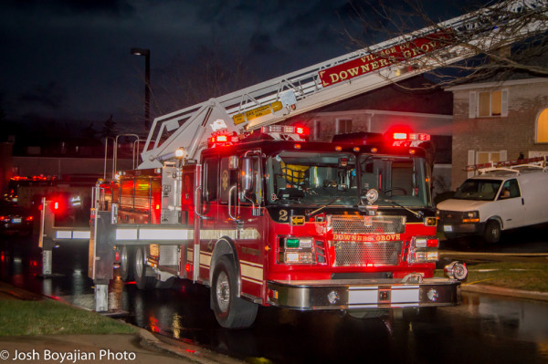 Downers Grove FD Smeal ladder truck at night fire scene
