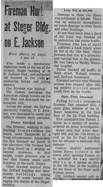 historic Chicago newspaper article