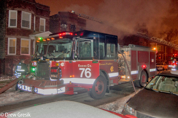 Chicago fire engine at night fire scene