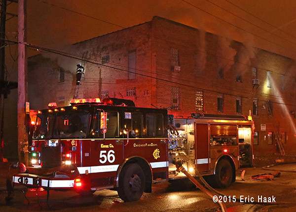 Chicago FD Engine 56 at a fire scene