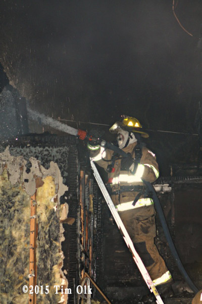 firefighter at night fire scene