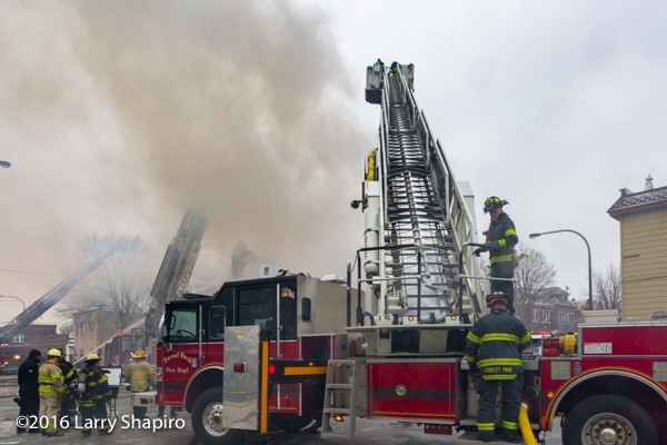 Pierce tower ladder at fire scene