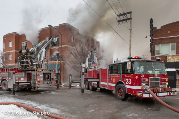 Chicago FD  Pierce Tower Ladders 14 and 23