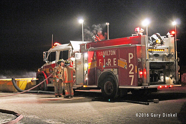 fire truck in Canada at night