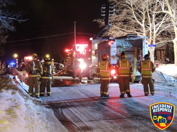 night fire Scene in Sheboygan WI