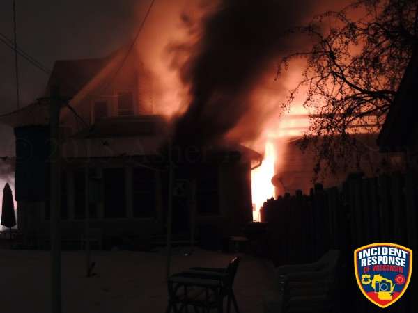 flames from house fire at night