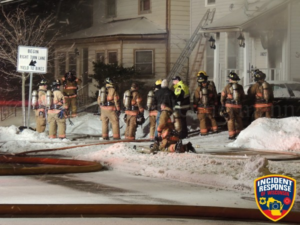 firefighters at site of house fire in Sheboygan