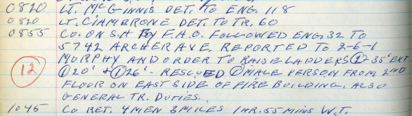 Vintage log book from Chicago FD Truck 60