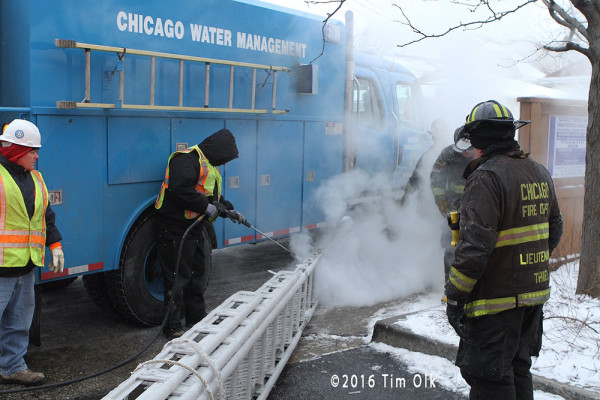 steam used at fire scene on frozen ladder