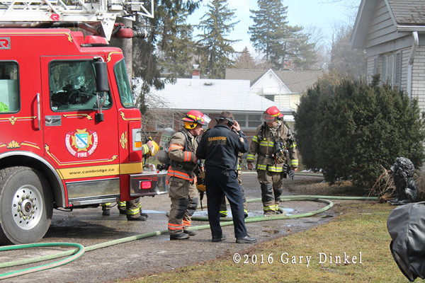 house fire in firefighters at a Cambridge Ontario Canada