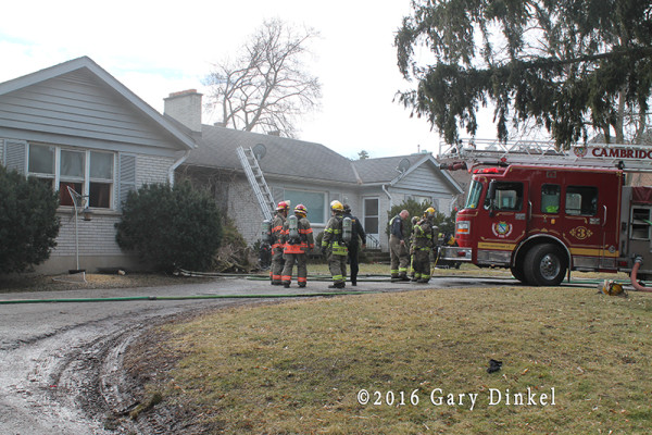 firefighters at a house fire in Cambridge Ontario Canada