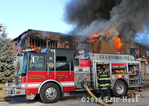 Glenwood HME fire engine at fire scene