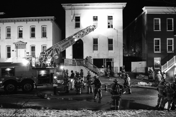 night fire scene on blackened white