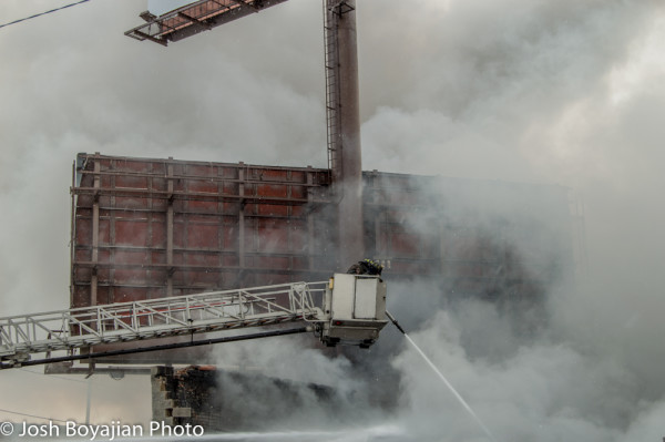 E-ONE tower ladder battling Chicago fire