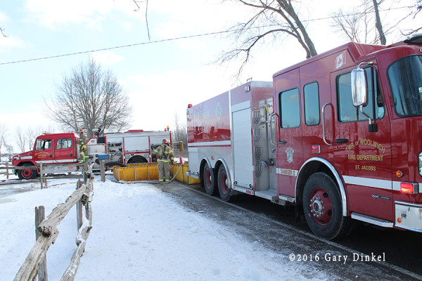 rural water supply tanker shuttle at fire scene