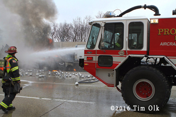 airport crash truck at highway truck fire